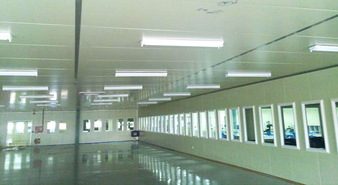 Design and installation of clean room, paneled plate Panel, Rockwool